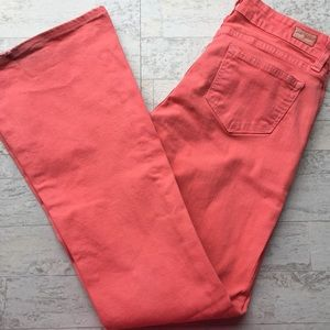 PAIGE JEANS Canyon Flare Pink Wide Leg Jeans 26